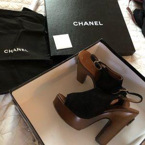 CHANEL Black Sandal Heels
